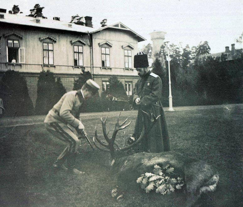 Nicholas Tsar of Russia with Stag at Hunting Lodge in Poland